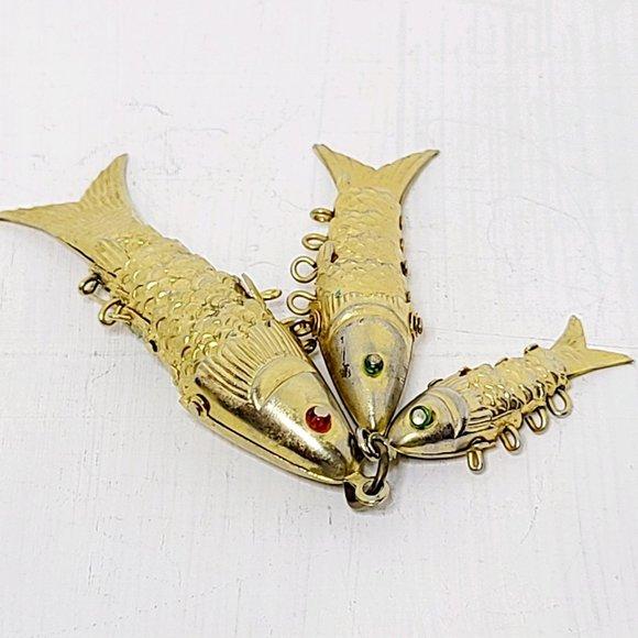 Vintage Articulated Three Fish PENDANT Gold tone - No chain, EUC